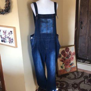 HYBRID & Company Size 3x Dark Stretchy Overalls Denim Jeans COZY $98 NEW